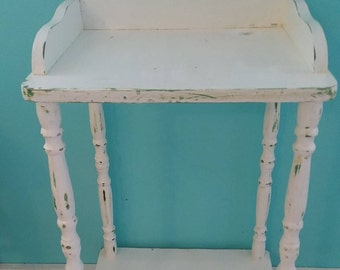 Distressed Side Table in White Chalk Paint