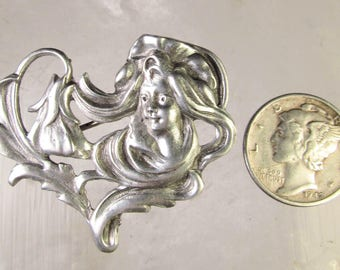Solid 925 Sterling Silver Art Nouveau Woman and Flower Pin Brooch