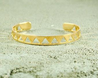 Gold Triangles Cuff Bracelet,bohocuff,urban Bracelet, stackable bracelets,Stacking Jewelry,street style Fashion,stack bracelets,street style