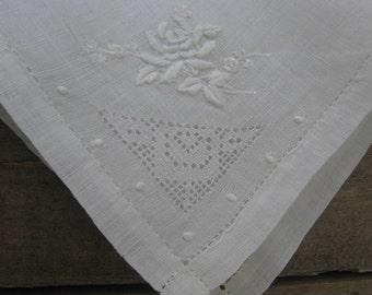 White Embroidered Hankie, Something Old Wedding Hankie, Ladies Handkerchief, White Handkerchief, Bridal Hankie