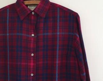 Vintage 70's Plaid Irish Wool Violet Shirt Dress M