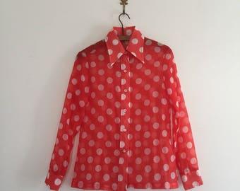 Vintage 70's Orange Polka Dot Sheer Blouse S