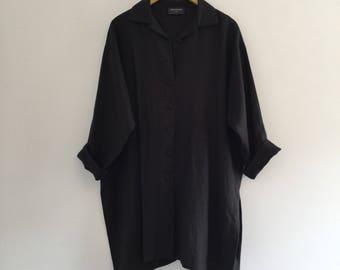 Vintage Black Linen Tunic Blouse Plus Size 2X XXL