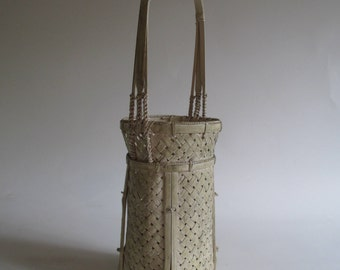 White Basket, Vintage Tall Narrow, Wicker Woven Reed Braiding Detail Shabby Cottage Cabin Decor Victorian Style