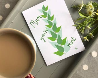 mum you're mint card - birthday card - mothers day card - funny mother's day card - mothering sunday - mum card - mum birthday card - my mum