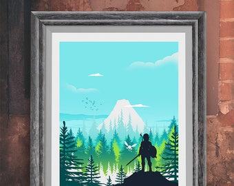 The Legend of Zelda Video Game Poster Print - Travel Poster - Video Game Poster - Minimalist Art Print