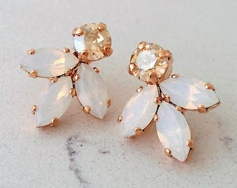 Rose gold Bridal earrings,White opal stud earrings,Bridesmaid gift,Petite earrings,white champagne Cluster earring,Vintage Bridal earrings