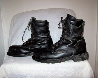 Vintage Men's Black Leather Steel Toe Lace Up Work Boots by Red Wing Size 12 D Only 24 USD
