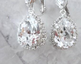 Crystal rhinestone earrings, Clip-on's Bridal earrings,Clip on Swarovski crystal earrings,Clip-on wedding earrings,Clip on earrings, SOPHIA