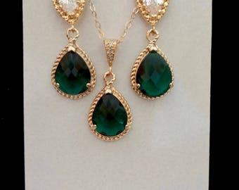 Emerald earrings and necklace set, Czech glass, Gold and emerald jewelry set, Irish wedding jewelry, Emerald bridal jewelry set, Gift ~