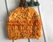 Newborn Knit Crochet One of a Kind Handspun Merino Pumpkin Hat - Ready to Ship Autumn Fall Photography Prop, RTS Fall Photography Prop