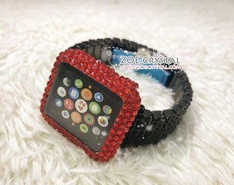 BUY 2 Get 1 FREE Bling Apple Watch Red Swarovski Crystal Case / Protector / Cover with a Black Rhinestone iWatch Band / Strap