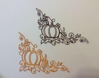 Handmade, Lacey Pumpkin and Vines Corner Flourish, Orange, Brown, Thanksgiving, Cards, Scrapbook Page