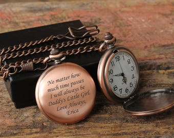 Father Daughter gift, Pocket Watch, Mens Personalized, Father of the Bride, Gifts for Dad from Daughter, Pocket Watch Chain, Pocket Watches