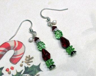 Grinch Christmas Earrings, Swarovski Earrings, Christmas Earrings, Holiday Earrings, Green Grinch Earrings, Santa Grinch Earrings, Dangle