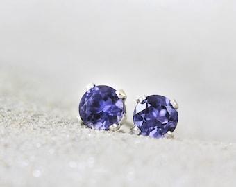Iolite Earrings - Blue Gemstone Studs - Iolite Studs - Earrings for Girls - Tiny Stud Earrings - Iolite Jewelry - Blue Earrings