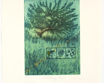 Fine Art Etching with bee pollen. Old apple tree, bees. Hand pulled print. Vanishing Bees. Limited edition.