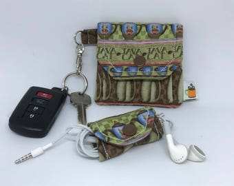Key Chain // Mini Pouch // Coffee Cats // Earbud Holder // Tech Pouch // Mini Purse // Small Gift // Under 10 // Cord Wrap // Cord Keeper