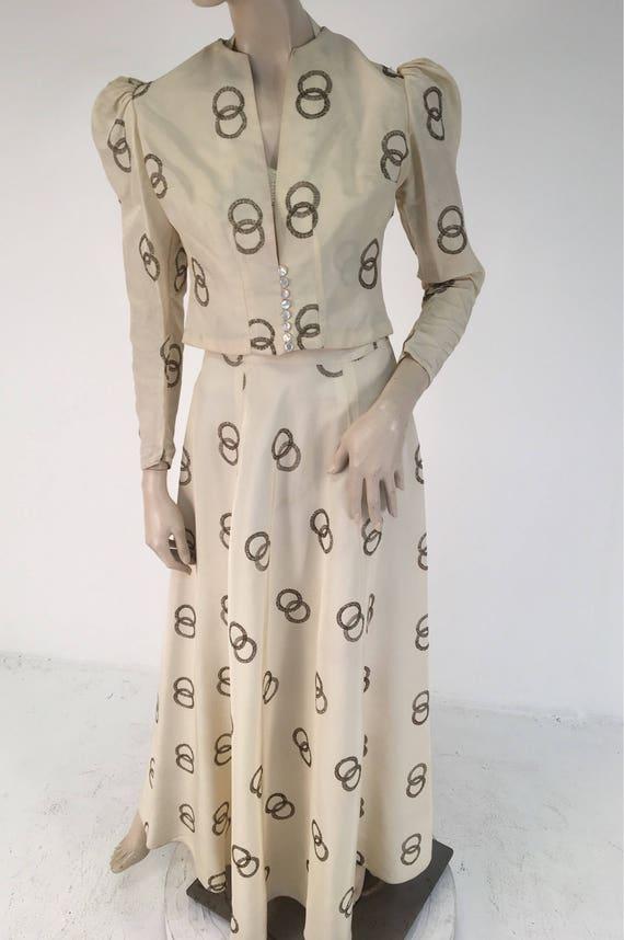 Vintage 1940s Wedding Two Piece Taffeta Long Dress and Jacket Medium