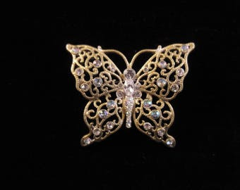 Vintage Butterfly Pin/Rhinestones, Gold-tone
