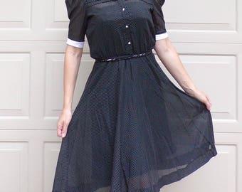 early 1980's BLACK WHITE PINDOT shirtwaist dress S