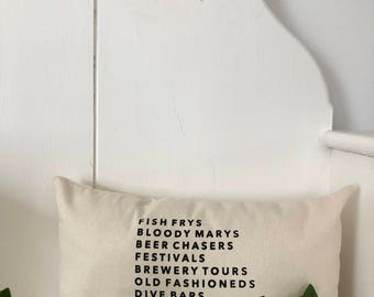 Milwaukee Pillow - Home Decor, Midwest, Beer, Gift for him, Gift for her, Stocking Stuffer