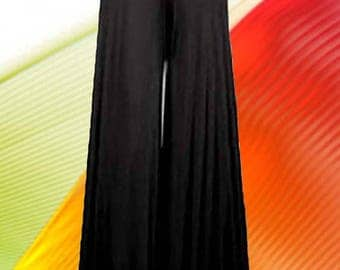 """Palazzo Pants   """" 28 """" Wide Leg High Waist Made To Measurement Matte Jersey Many Colors and Prints"""