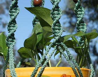 CIRQUE - Teal Handmade Macrame Plant Hanger Plant Holder with Wood Beads - 6mm Braided Poly Cord in SAGE Green