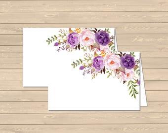 Purple Boho Floral Printable Food Tent Cards Place Cards, Lilac Floral Buffet Place Cards, Food Labels, Boho Decor, Instant Download 314-W