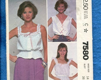 Vintage 1981 McCalls 7580 Country Western Eyelet Trimmed Camisoles Size 14