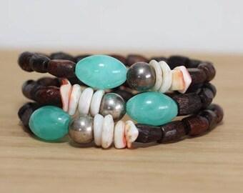 Boho Beach Bracelet, Bracelet Set, Wood Bracelet, Stackable Bracelet, Hippie Jewelry, Teal Bracelet, Wood Bracelet Set, Beaded Boho Bracelet