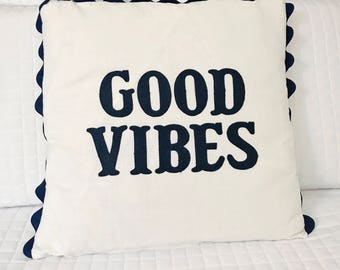 Boy Nursery Decor Little Boy Room Decor Baby Gift Good Vibes Pillow Organic Cotton Pillow Navy Pillow Cover