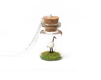 Japanese Crane Necklace - tiny glass bottle, China animal gift, Himalayas, animal lover, ornithology gift