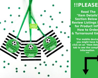 Soccer Favor Tags - Soccer Thank You Tag - Sports Tags - Sports Favor Tag - Soccer Gift Tag - Digital or Printed Available
