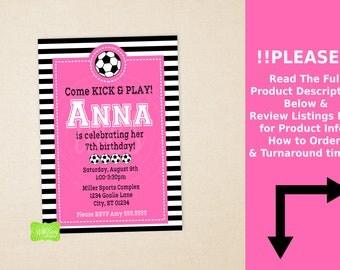 Soccer Party Invitation - Soccer Birthday Invite - Sports Invitation - Pink Soccer Invitaton - Digtal & Printed Available