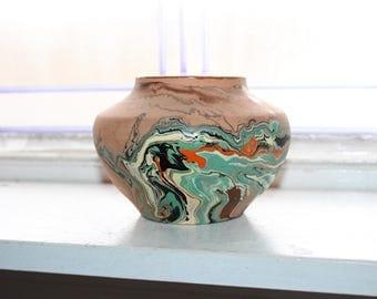 Vintage Nemadji Pottery Jar or Vase Brown Swirl Pottery 1930s