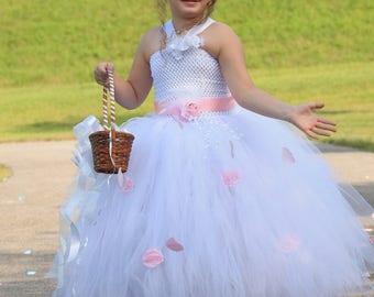 White flower girl dress, White tutu dress, Tulle Flower Girl Dress, flower girl dresses, rustic flower girl dress, Custom Flower Girl dress