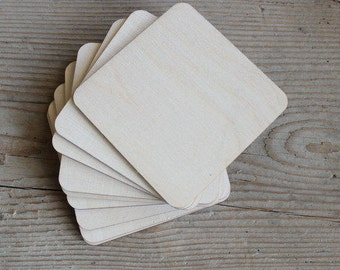 Square wooden coasters, set of 20, plywood blank coaster, blank for decoupage, 10 x 10 cm coaster, party favours, gift idea, home decor wood
