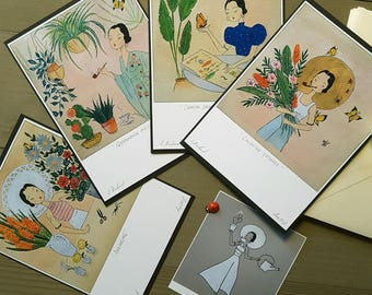 Set of 4, Botanical Percy, A6 Mini Prints, with Envelopes...