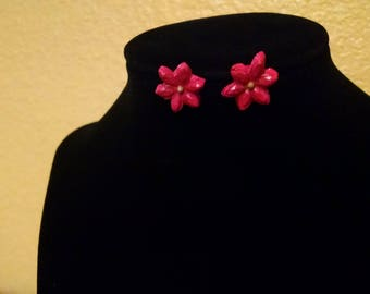 Hand-painted clay red flower earrings