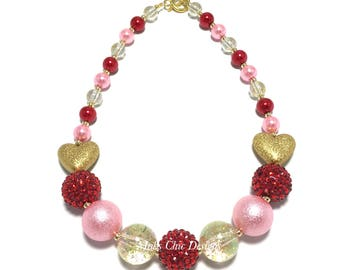 Toddler or Girls Red, Pink and Gold Heart Chunky Necklace - Valentines Day Chunky Necklace - Gold Heart necklace - Red and Pink necklace
