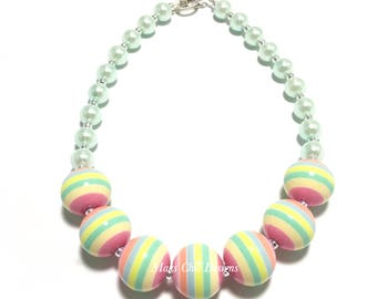 Toddler or Girls Spring Striped Chunky Necklace - Mint, Yellow, Blue and Pink Chunky Necklace - Easter Egg Chunky Necklace - Pastel Necklace
