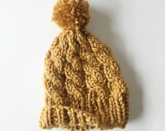 Baby Cable Knit Winter Hat in Mustard Yellow with Pompom