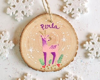 Personalized Ornament kids, Deer Ornament, Baby Christmas Ornament, Little Girl Gift, Hand Painted Ornament, Animal Ornament, Baby Name gift