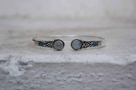 TIBETAN MOONSTONE CUFF -Silver Bracelet- Moonstone- Healing Crystal Jewellery- Chakra- Statement bracelet- Boho- Vintage jewellery- Tibetan