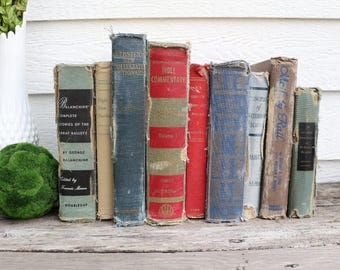 Set of 9 Vintage Books - Antique Book Decor - Photo Props -Wedding Decor- Black, Brown, Navy, Red - Rustic Books - French Country - Old