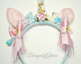 Unicorn Headband, Unicorn Horn, Unicorn Birthday Party, Baby Kei, Lolita, Fairy kei, Fairy kei , Japanese Fashion, Pastel, Flower Headband