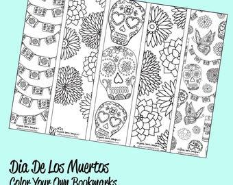 Dia De Los Muertos Color Your Own Bookmarks Printable by Crystal Domi
