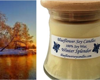 Scented Soy Candle Winter Splender Hand Poured 12 oz Jar With Wood Lid