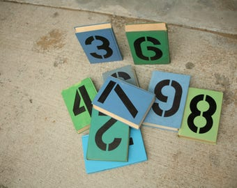 1 through 9 Book Table Numbers, Alternative Wedding, Blue and Green Books, Table Number, Unique Table Numbers, Wedding Table, Indie